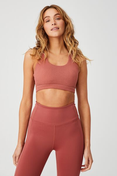Workout Cut Out Crop, CHESTNUT RIB