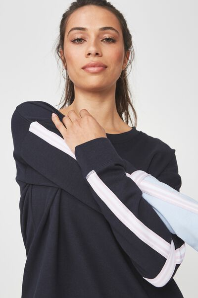 Long Sleeve Terry Crew Top, NAVY