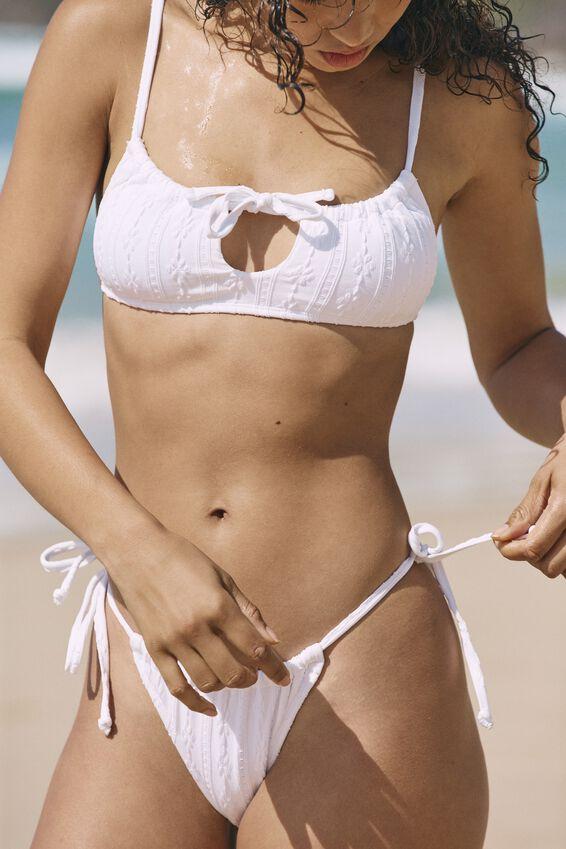 Gathered Tie Brazilian Bikini Bottom, WHITE BROIDERIE
