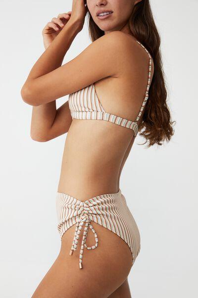 Highwaisted Tie Side Cheeky Bikini Bottom, MINT CHIP MULTI LUREX STRIPE