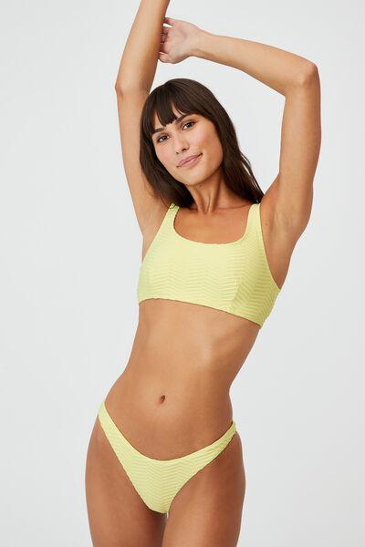Gathered Bum Brazilian Bikini Bottom, LEMON TEXTURE
