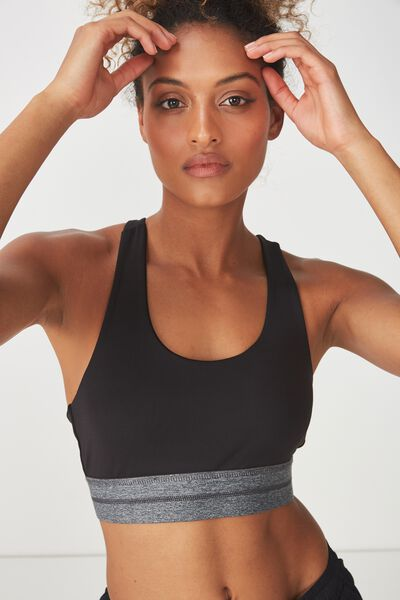 Recycled Speed Stripe Sports Crop, BLACK