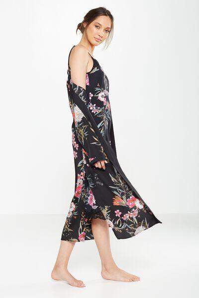 Long Kimono Gown, BLACK WILD FLOWER