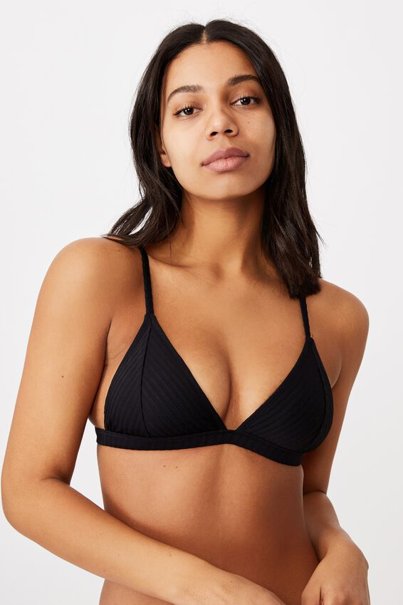 Fixed Triangle Bikini Top, BLACK RIB 21