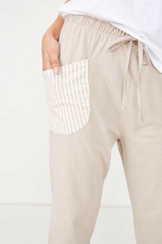 Jersey Harem Pant, BAKED STONE MARLE/STRIPE POCKET