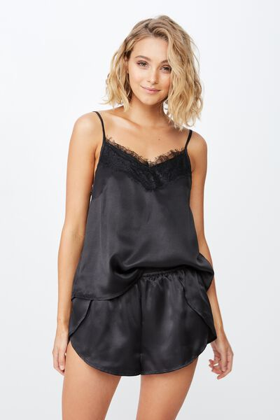 Dolphin Hem Satin Short, BLACK