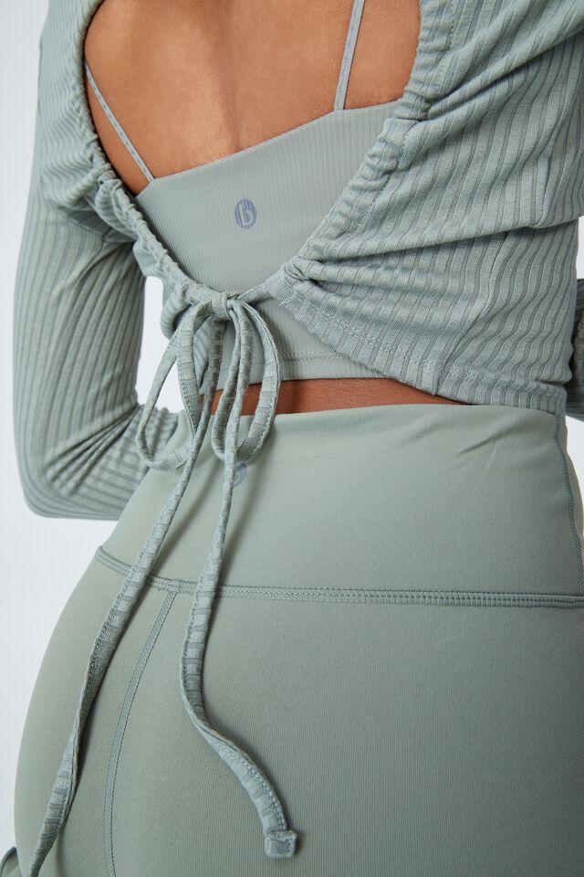 Tie Back Long Sleeve Top, GREEN HAZE
