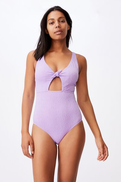 Tie Front One Piece Cheeky Jacquard, ORCHID MIST JACQUARD