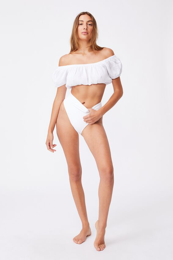 Off The Shoulder Beach Top, WHITE