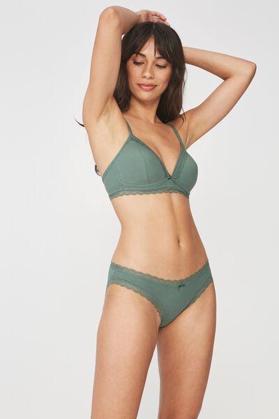 Rib & Lace Bikini Brief, FERN GREEN