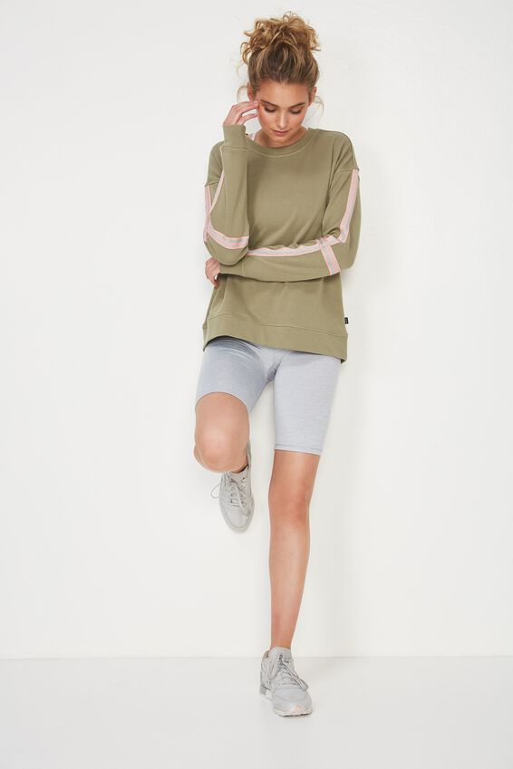 Long Sleeve Terry Crew Top, HIKING GREEN