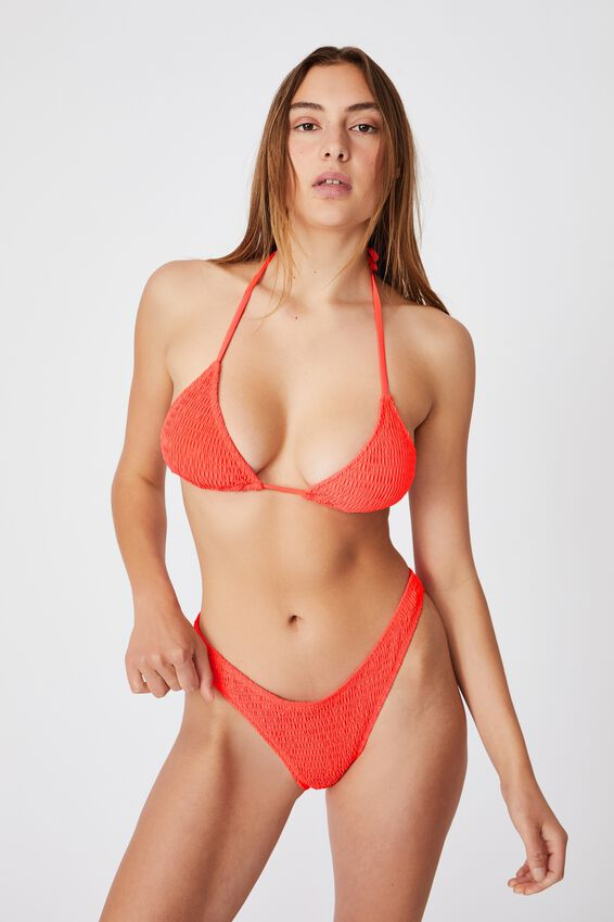 Slider Triangle Bikini Top, HOT CORAL SHIRRED