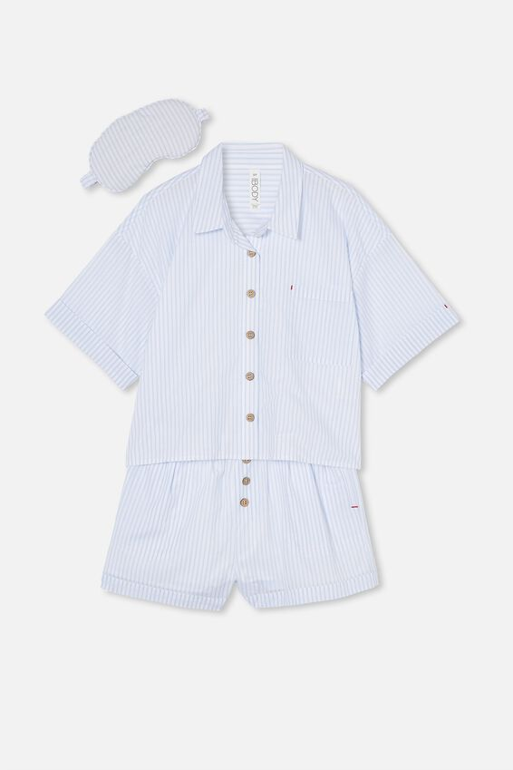 Washed Woven Sleep Set, PYJAMA STRIPE