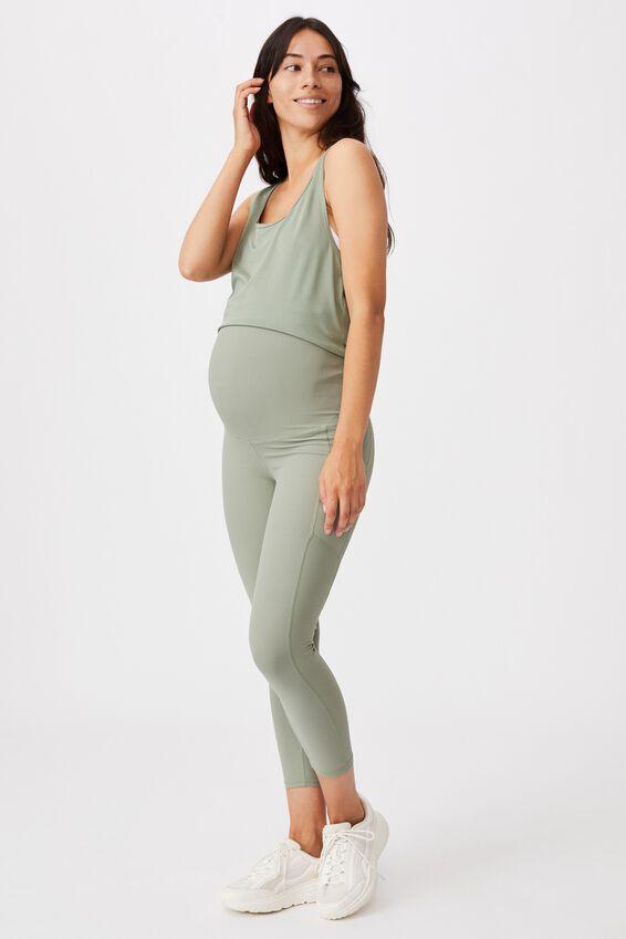 Maternity Rib Pocket 7/8 Tight, BASIL GREEN
