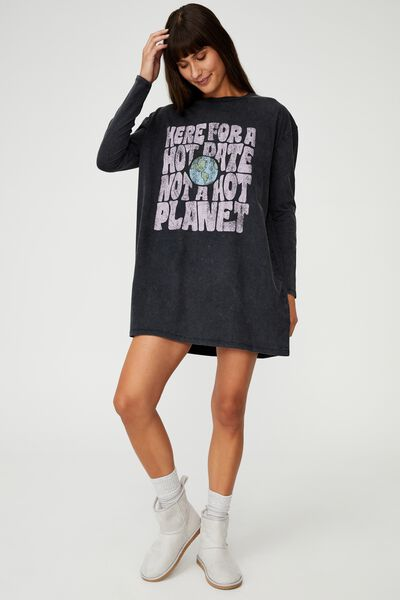 90S Long Sleeve Nightie, HOT DATE HOT PLANET/WASHED BLACK