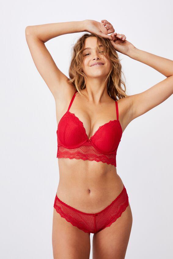 Stevie Lace Bikini Brief, TRUE RED