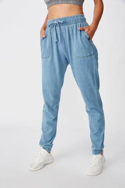 Washed Gym Trackpant, LIGHT DENIM