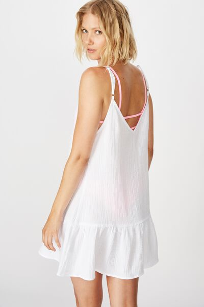 Drop Hem Beach Dress, WHITE