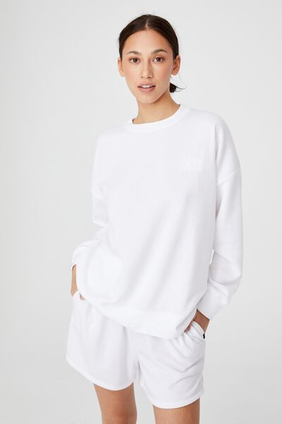 Lifestyle Long Sleeve Personalised Crew Top, WHITE