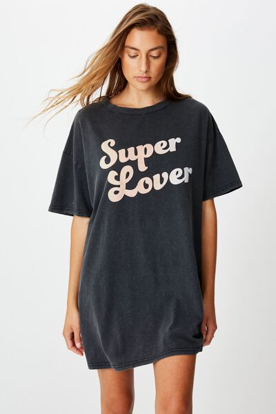 90 S Tshirt Nightie, SUPER LOVER/WASHED BLACK