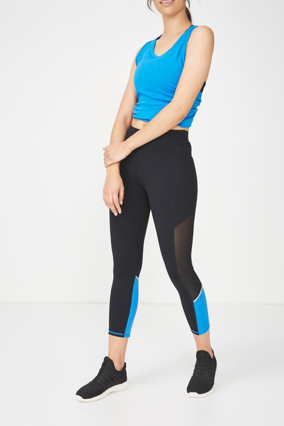 Elite Training 7/8 Tight, BLACK / ELECTRIC BLUE