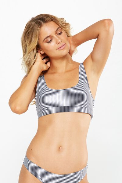 Texture Stripe Bralette Bikini Top, INDIGO/WHITE STRIPE