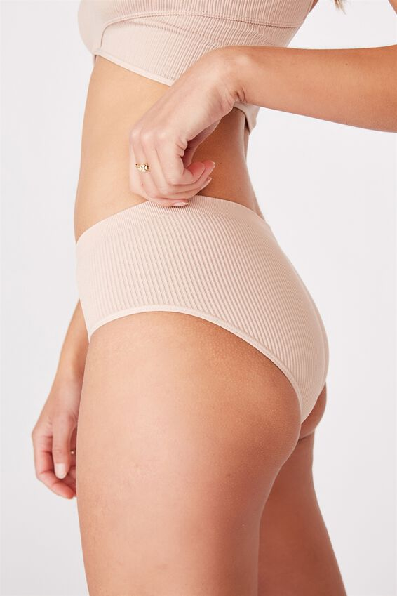 Seamless Rib Boyleg Brief, NEW LATTE