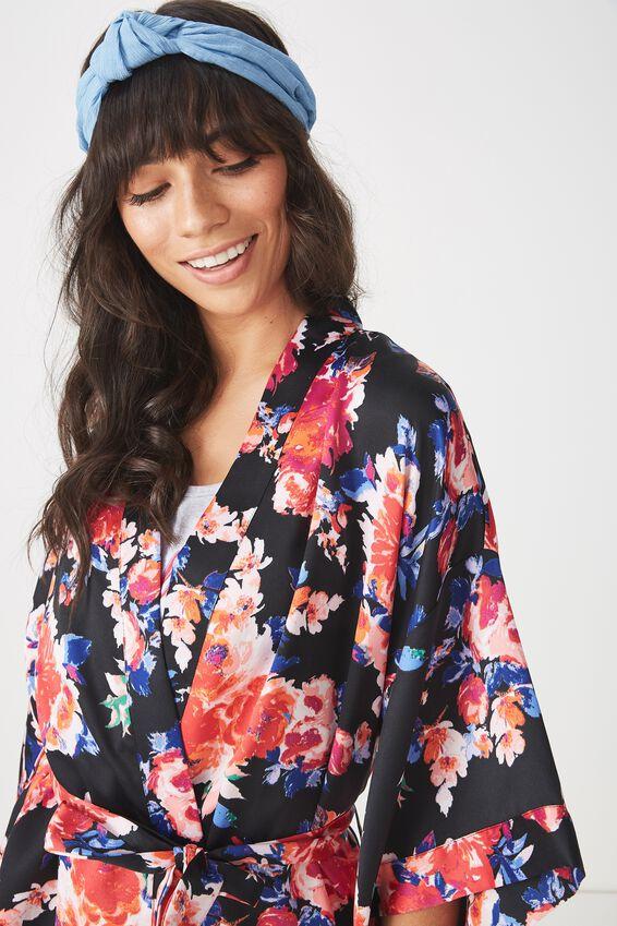 Kimono Robe, BOUQUET BLOOM BLACK