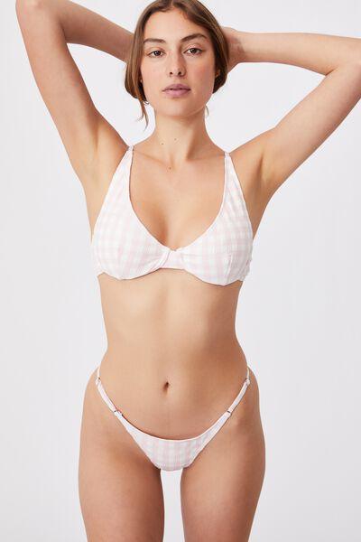 Half Wire Bralette Bikini Top, PALE PINK GINGHAM