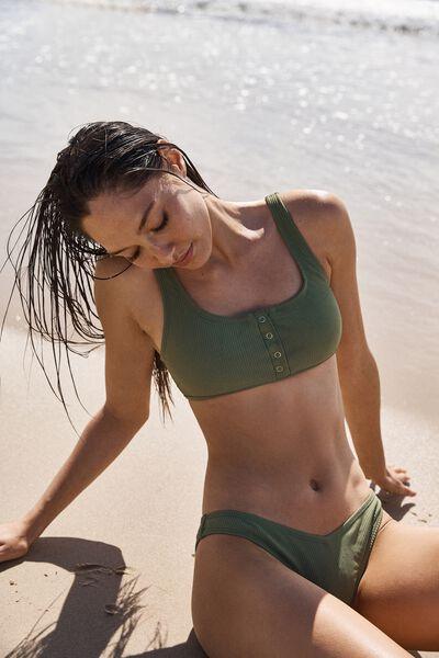 Henley Scoop Crop Bikini Top, COOL AVOCADO RIB