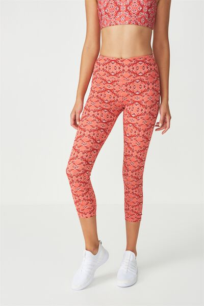 Recycled Highwaisted Yoga 7/8 Tight, LOTUS TILE REDS