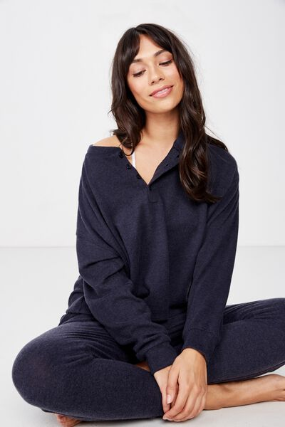 Supersoft Henley Top, NAVY BABY MARLE