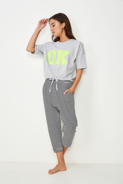 Jersey Cropped Cuffed Pant, FREDDIE FEEDER STRIPE BLACK