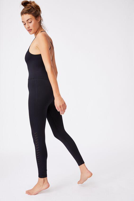Lifestyle Seamless Yoga Onesie, BLACK