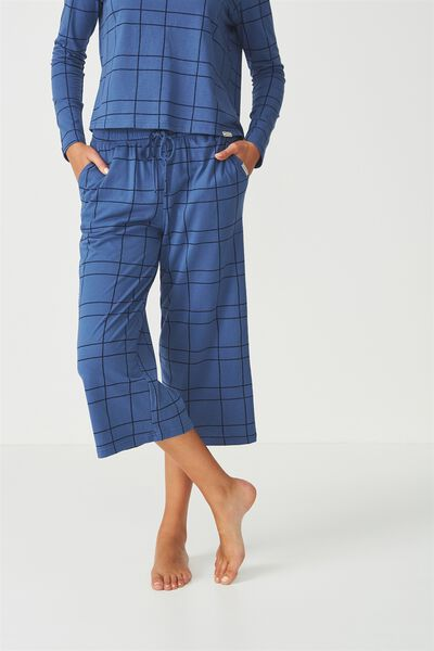 Cropped Wide Pant, HAND DRAWN CHECK SKY BLUE