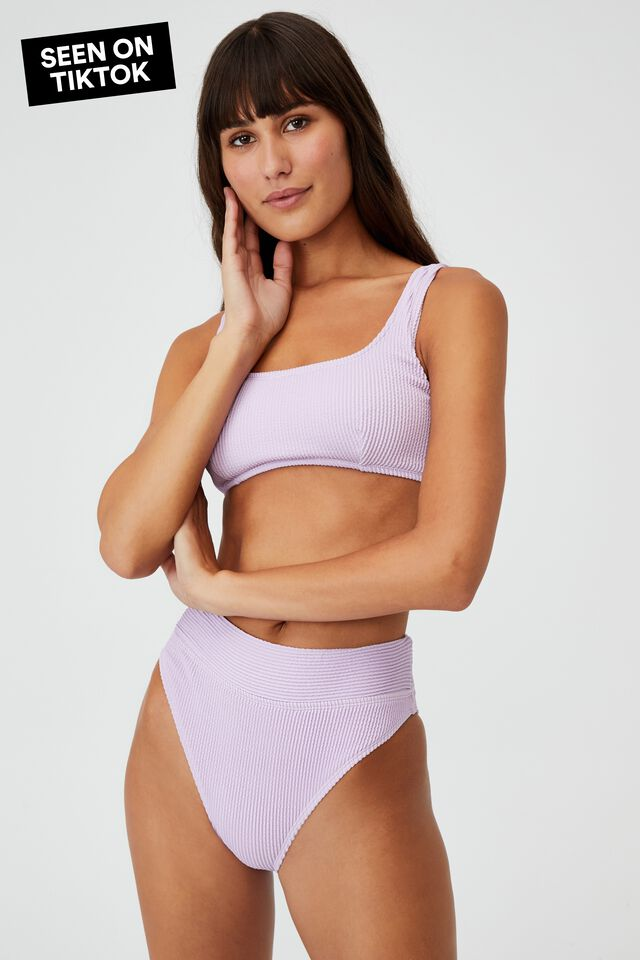 Highwaisted Cheeky Bikini Bottom, VIOLET CRINKLE