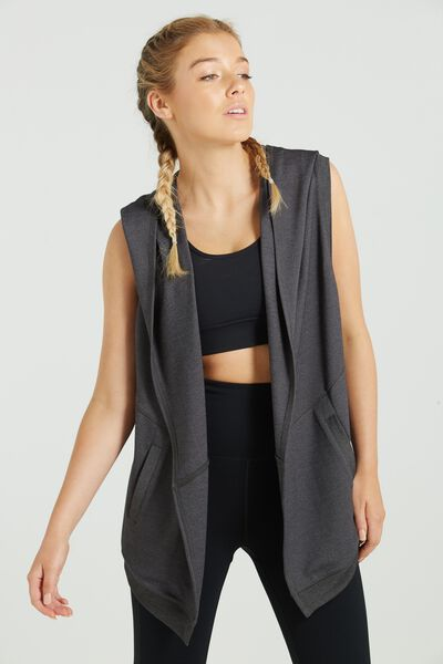 Wrapped Up Hooded Vest, CHARCOAL MARLE