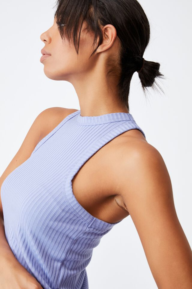 Lifestyle Racer Tank, PERIWINKLE
