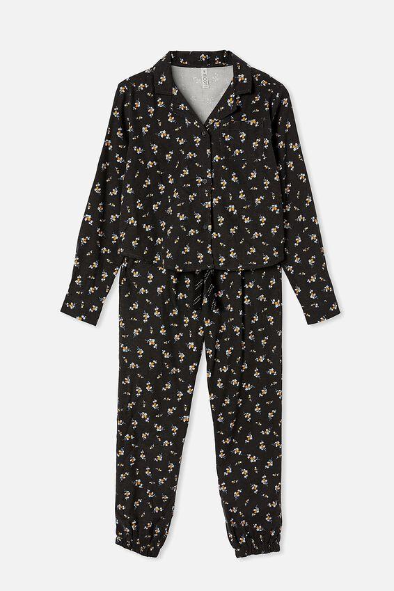 Flannel Sleep Pant, SPRIGGY FLORAL WASHED BLACK