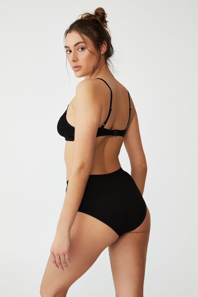 Organic Cotton Mumdie Bikini Brief, BLACK RIB