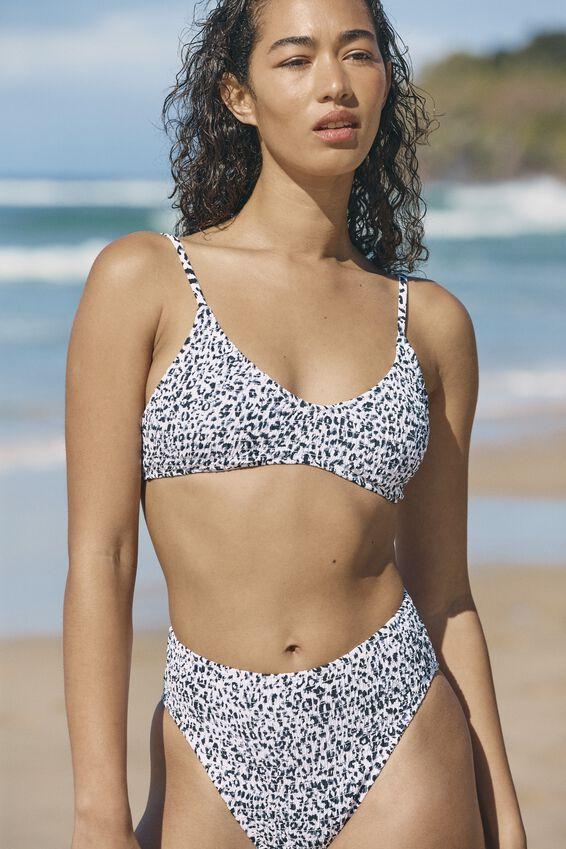 U Crop Bralette Bikini Top, MONO LEOPARD SHIRRED