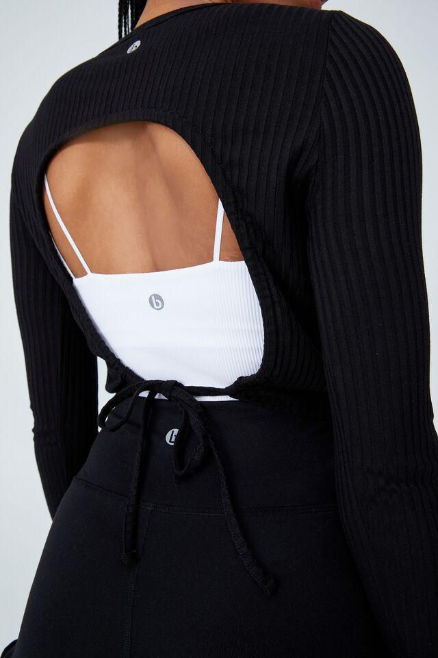 Tie Back Long Sleeve Top, BLACK