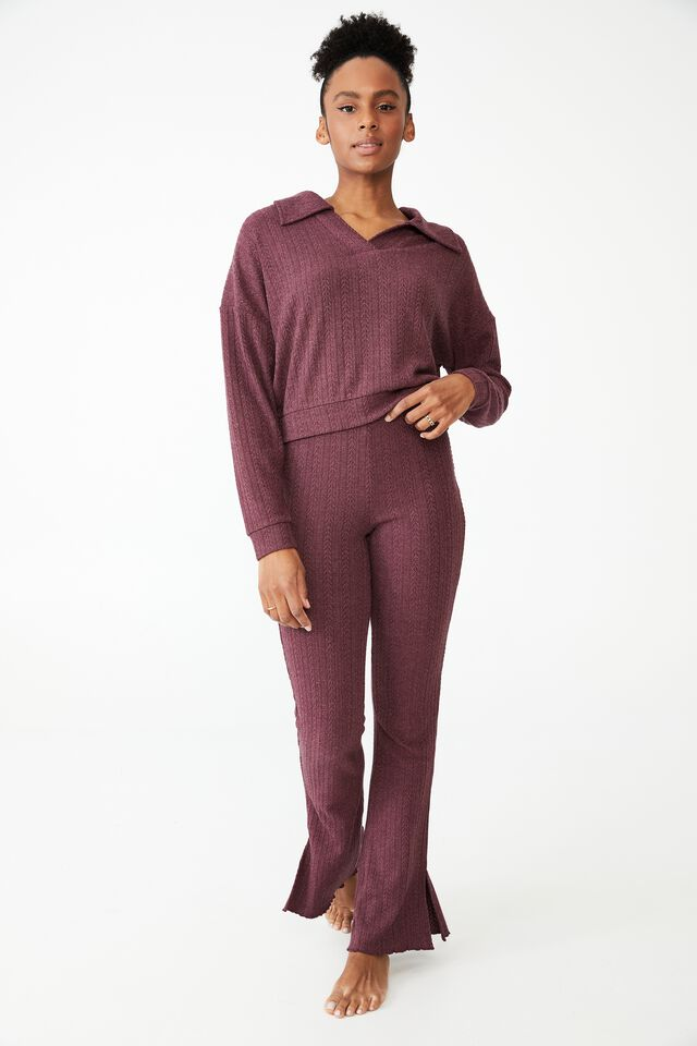 Super Soft Textured Long Sleeve Polo, RUM RAISIN MARLE