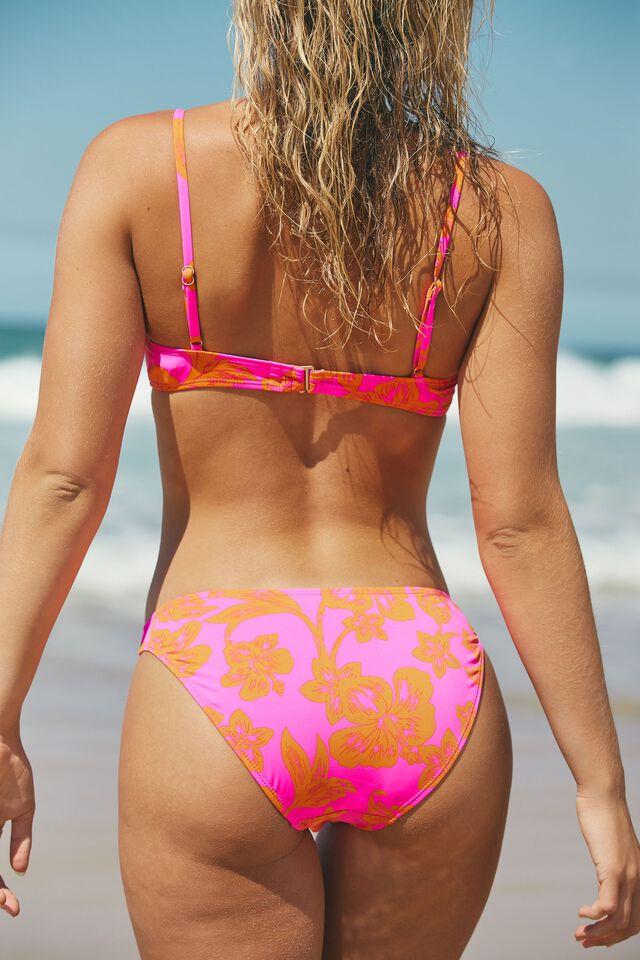 Half Wire Bra Bikini Top, HIBISCUS VINE PINK
