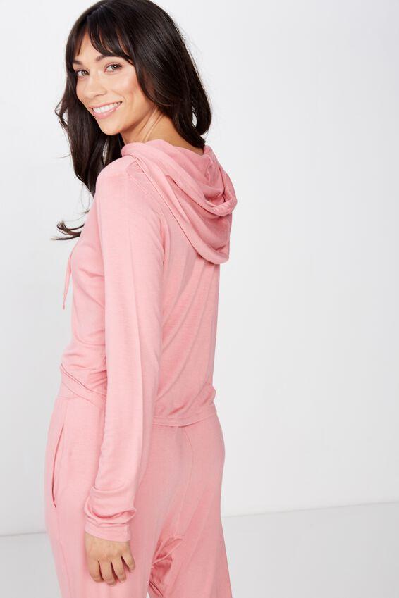 Sleep Recovery Hooded Long Sleeve Top, PINK GLOW