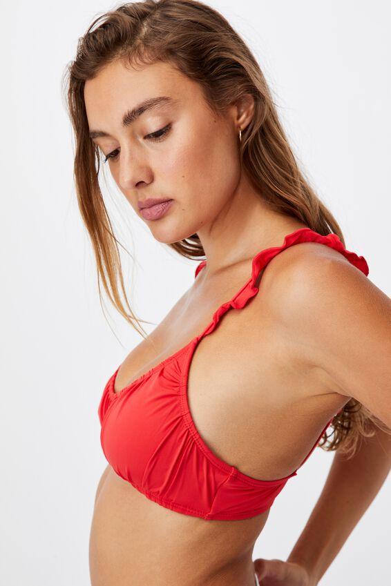 U Crop Bralette Bikini Top Gathered, RED/FRILL