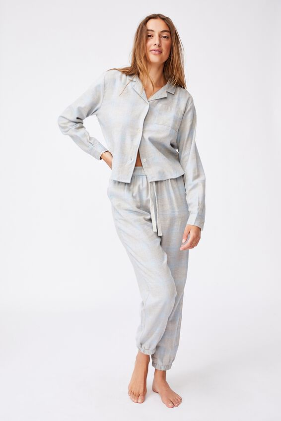 Flannel Sleep Pant, BABY BLUE MARLE CHECK