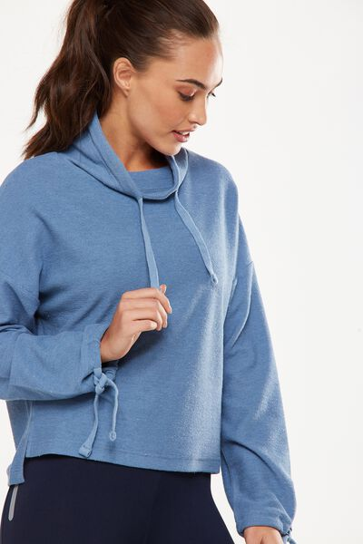 Tunnel Neck Long Sleeve Top, FROSTED BLUE
