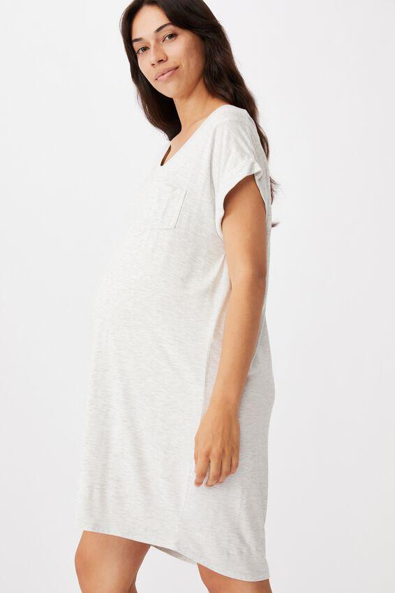 Sleep Recovery Maternity Nightie, SOFT GREY MARLE