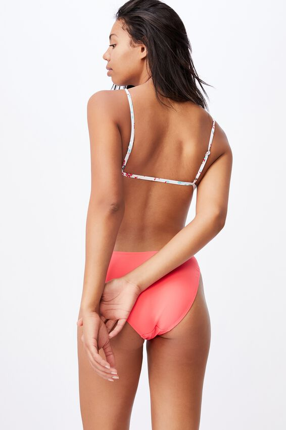 Gathered Bralette Bikini Top, WHITE DITSY DAYS